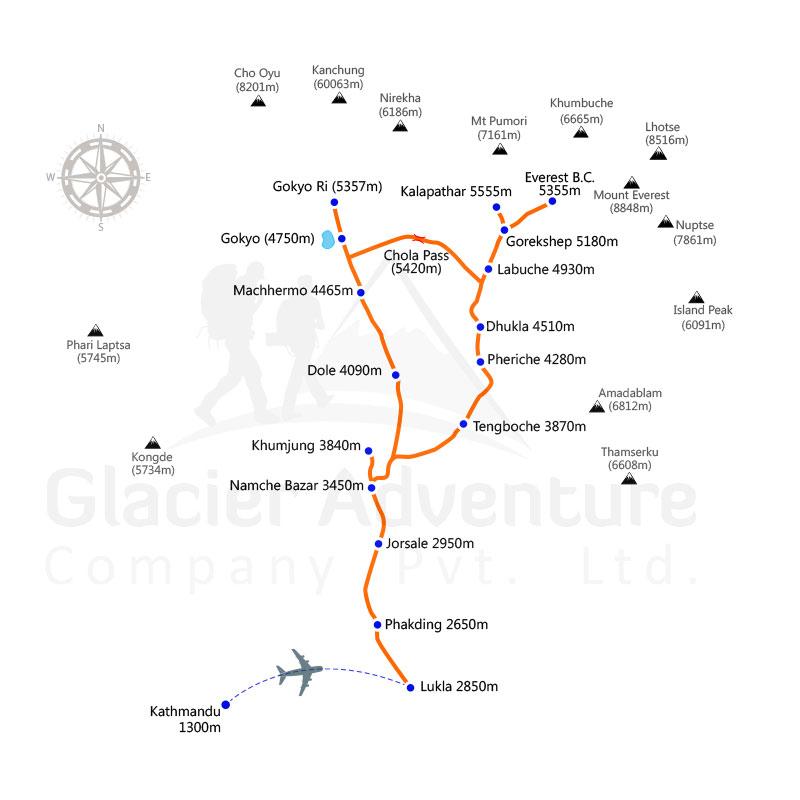 Gokyo Lake- Chola Pass- Everest Base Camp Trekking map