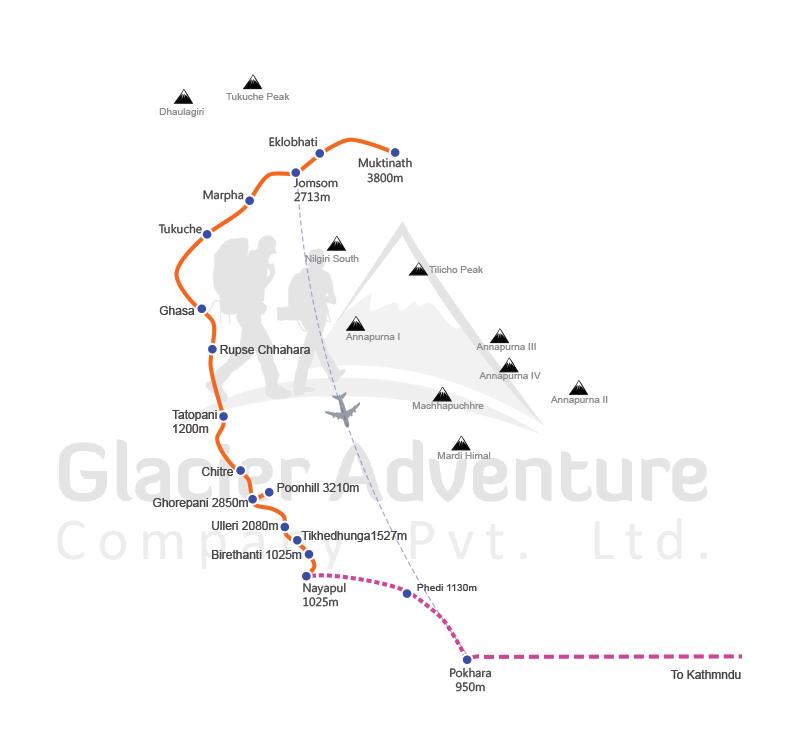 Jomsom- Muktinath Trekking map