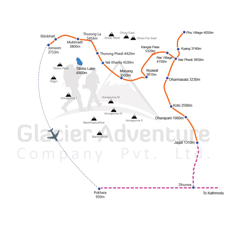 Nar Phu valley trekking with Kang La pass map