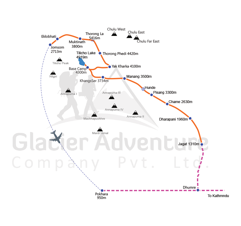 Tilicho Lake Trekking with Thorong La Pass map