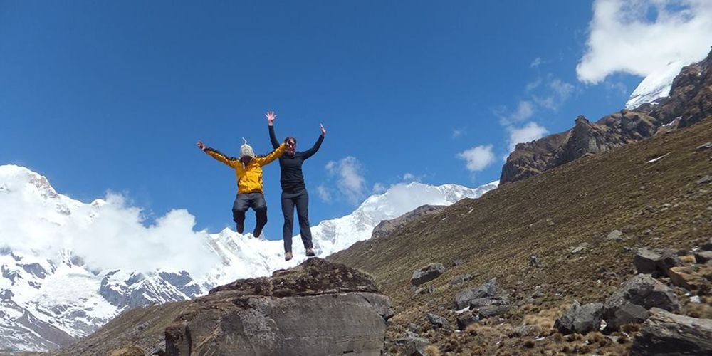 Adventure Girl and boy flying in Annapurna base camp!