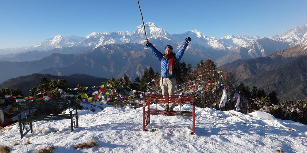 Adventure Girl with Dhaulagiri Mountain views!