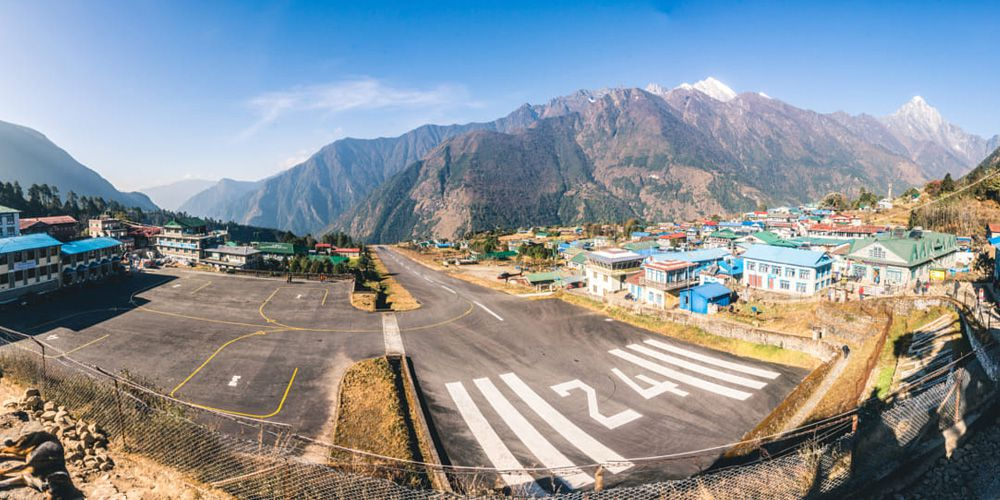 Famous Lukla airport with Kongde Himal.