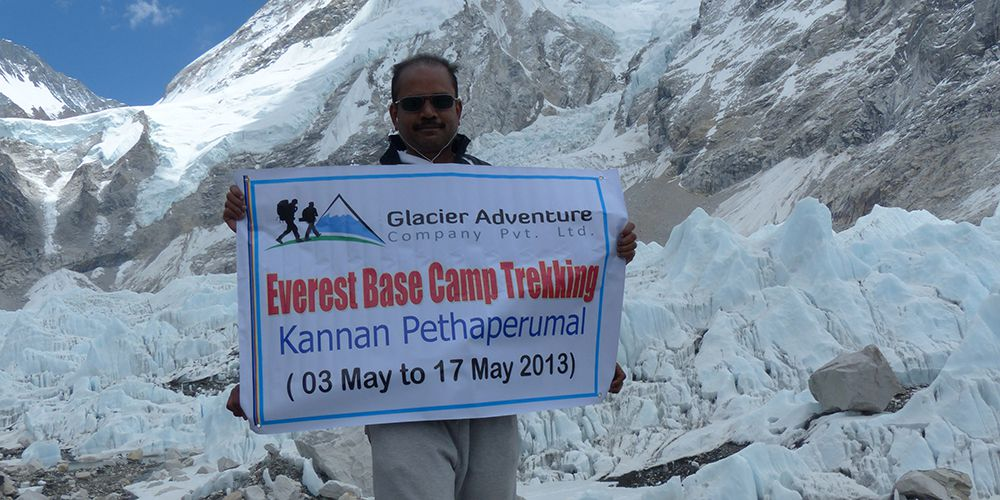 Dr Kannan in Everest base camp with Khumbu Glacier!