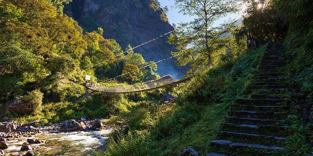 Beautiful bridge in Langtang River!